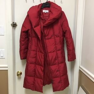 Calvin Klein Puffer Jacket Long Red Down Small